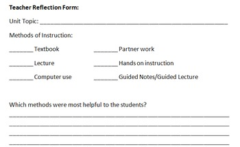 Reflection Form for Teacher Use