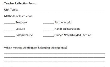 Reflection Form for Teacher Use