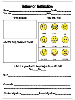 Reflection Forms For Elementary and Middle School