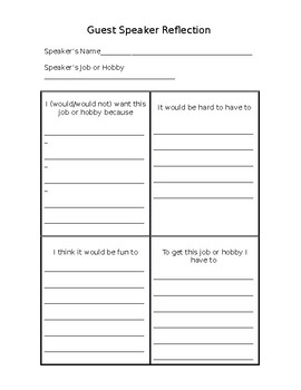 Reflection Forms for the Classroom
