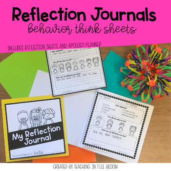 Reflection Journals | Behavior Think Sheets +Apology Planner | Target Blank Book