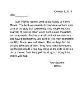 Reflection Letter
