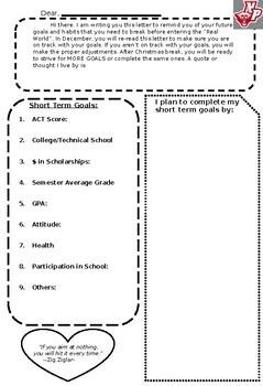 Reflection Letter to Self--- Setting Goals for Juniors or Seniors