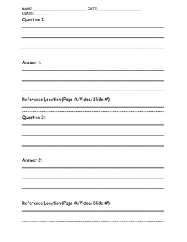 Reflection Question Printable Template.