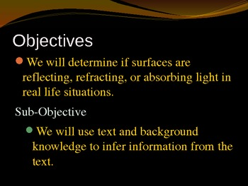 Reflection, Refraction, and Absorption Properties of Light PowerPoint