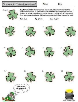 Reflection, Rotation, Translation - Shamrocks!