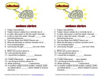 Reflection Sentence Starters