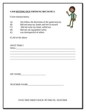 Reflection Sheet for students in physical education