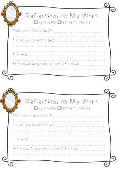 Reflection Sheets for Individual Work- Portfolios