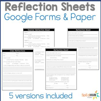 Reflection Social Story and Sheets