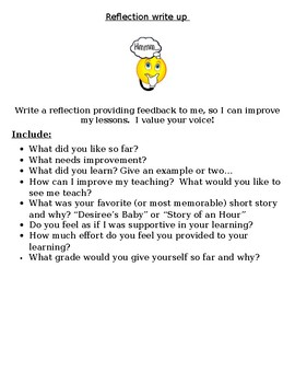 Reflection Write-up for end of unit, semester, or year