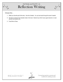 Reflection Writing: Fiction – Recording Ideas Activity