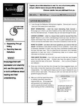Reflection Writing: Info Text – Recording Ideas Activity