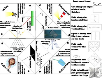 Reflection and Refraction Activity/ Foldable (No Prep Scoot Review Game/ Quiz)