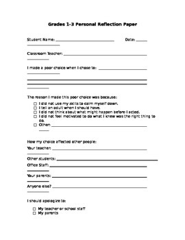 Reflection and apology form