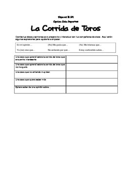 Reflection for La corrida de toros / The Bullfight (IB/AP/Honors Spanish)