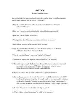 Reflection questions for GATTACA by Jessica Costa | TpT