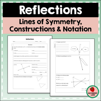 reflections worksheet constructions line symmetry notation geometry - Reflections Worksheet