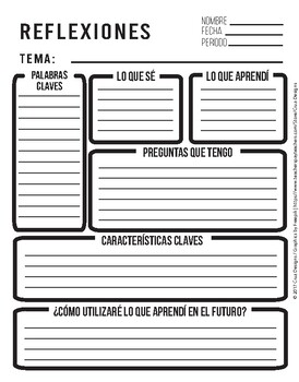Reflections Worksheet / Hoja de Reflexiones PDF English / Spanish