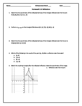 Reflections in the Coordinate Plane PDF