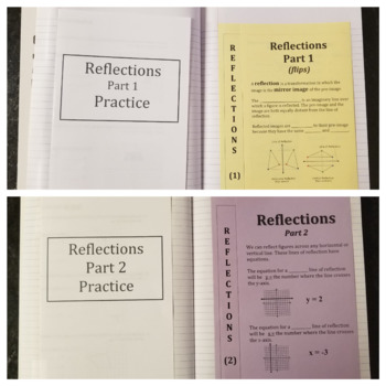 Reflections on a Coordinate Plane Parts 1 & 2 (Foldables)