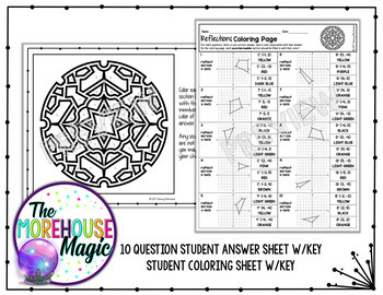 reflections on a coordinate plane math color by number or quiz tpt. Black Bedroom Furniture Sets. Home Design Ideas