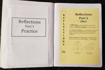 Reflections on a Coordinate Plane - Part 1  (Foldables)