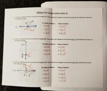 Reflections on a Coordinate Plane - Part 2 (Foldables)