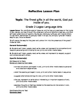 Reflective Lesson plans Grade 1,2  religous