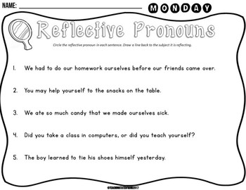 Reflective Pronouns Mini-Unit for Young Learners