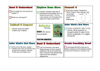 Reflective Reading Task Map - Tintin and the Seven Crystal Ball