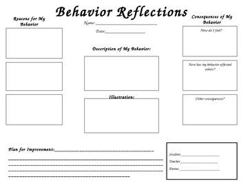 Reflective Student Behavior Sheet