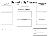 Reflective Student Behavior Sheet