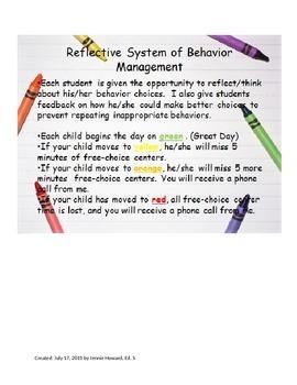 Reflective System of Behavior Management
