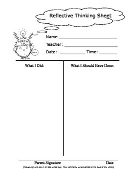 Reflective Thinking Sheet