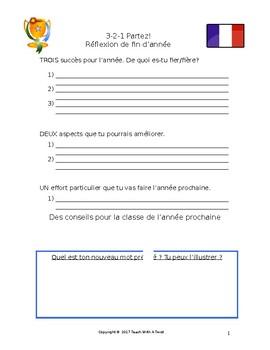 Réflexion de fin d'année - classe de français - end of year reflection