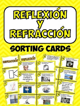Reflexion y Refraccion Sorting Cards- Reflection and Refraction Sorting Cards