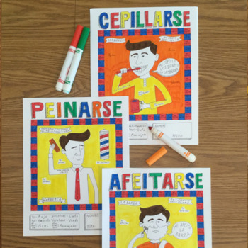 Reflexive Afeitarse Cepillarse Peinarse Color by conjugation Spanish verbs