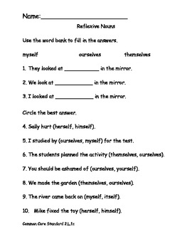 Reflexive Nouns Worksheet for Common Core ELA
