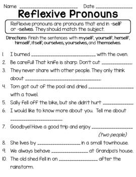 Reflexive Pronouns Worksheets Teachers Pay Teachers