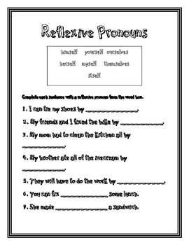 reflexive pronouns 2nd grade common core by heather west tpt. Black Bedroom Furniture Sets. Home Design Ideas