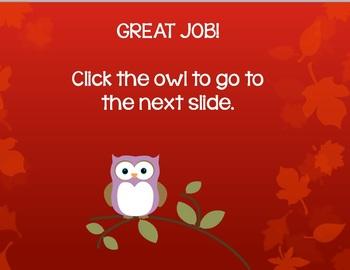Reflexive Pronouns PowerPoint Game (Fall/Autumn Owls Design)
