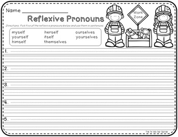 Reflexive Pronouns: Read the Room, Center Activity, and Mimio Combo