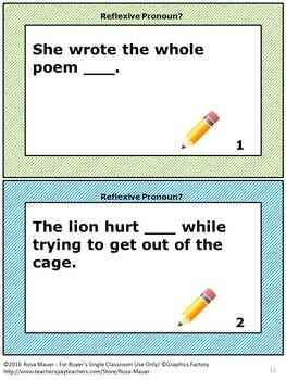 Reflexive Pronouns Task Card and Worksheet Set