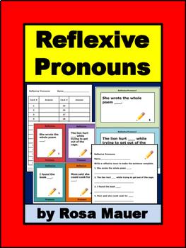 Reflexive Pronouns Task Card and Worksheet Set