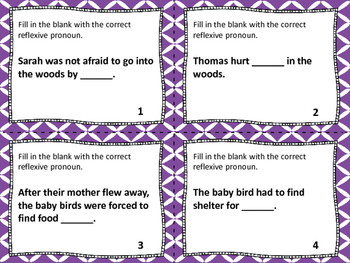 Reflexive Pronouns Task Cards, Board Game & SCOOT