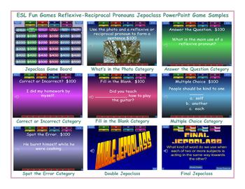 Reflexive-Reciprocal Pronouns Jeopardy PowerPoint Game