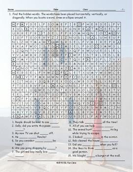 Reflexive-Reciprocal Pronouns Word Search Worksheet