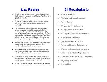 Spanish Reflexive Verb Board Game