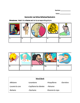 Reflexive Verb Vocabulary Quiz